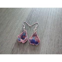 Fancy ceramic earrings red brown blue