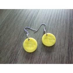 Boucles d'oreilles fantaisie céramique rondes jaune