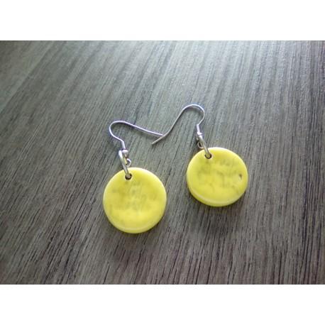 Boucles d'oreilles fantaisie céramique ronde jaune