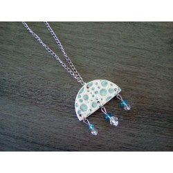 Turquoise and white ceramic necklace on stainless steel