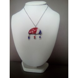 Red white blue ceramic necklace on stainless steel