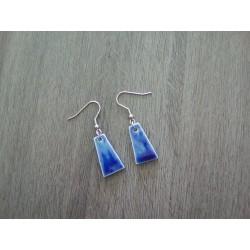 Boucles d'oreilles céramique bleu