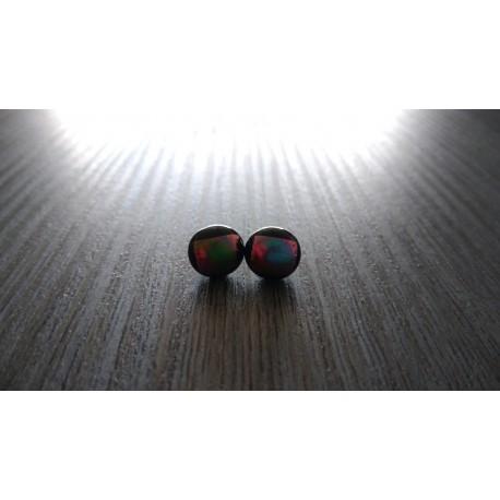 Boucles d'oreilles puce verre noir et dichroic violet et vert.