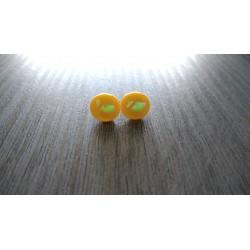 Boucles d'oreilles puce verre fusing dichroic jaune d'or