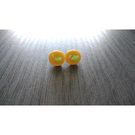 Boucles d'oreilles puce verre fusing dichroic jaune orangé
