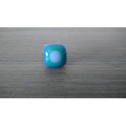 Bague verre fusing verte et bleue Julie & Co Créations