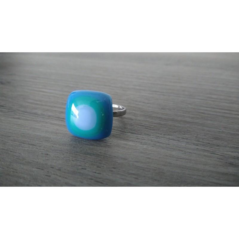 bague verre fusing verte et bleue julie co cr ations julie and co cr ations. Black Bedroom Furniture Sets. Home Design Ideas
