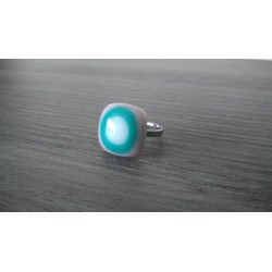 Fancy ring glass white fusing turquoise purple stainless steel