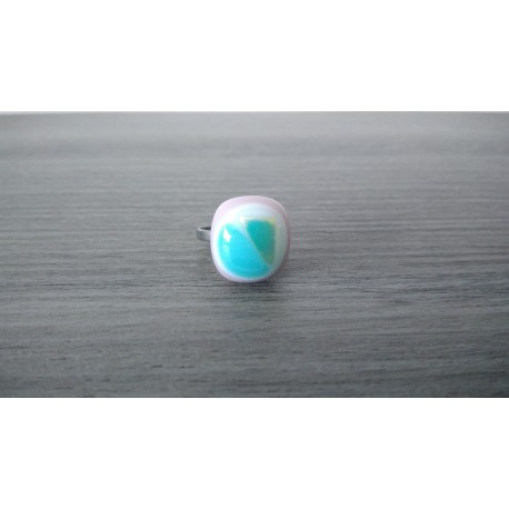 Bague fantaisie verre fusing dichroic turquoise acier inoxydable