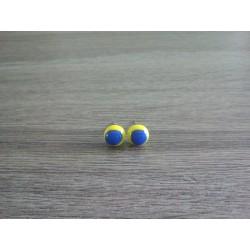 Boucles d'oreilles puce verre fusing jaune et bleu.