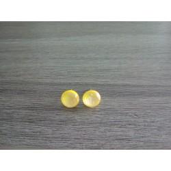 Boucles d'oreilles puce verre fusing dichroic jaune citron