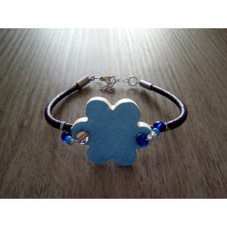 Bracelet bleu verre artisanale sur cuir bleu et acier inoxydable made in france vendée