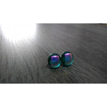 Boucles d'oreilles puce verre fusing Dichroic turquoise inox