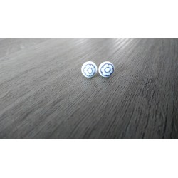 Boucles d'oreilles puce verre fusing millefiori bleu et blanc
