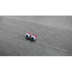 Boucles d'oreilles puce verre fusing millefiori rouge et blanc