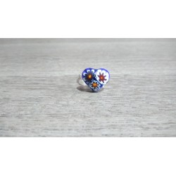 Ring glass fusing blue millefiori heart