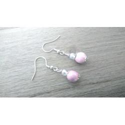 Pretty little pink ceramic earthenware earrings