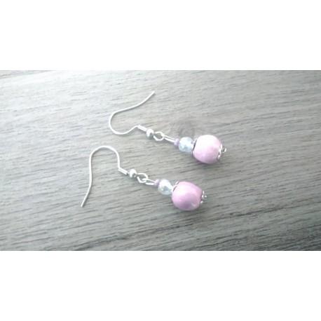 Boucles d'oreilles céramique rose