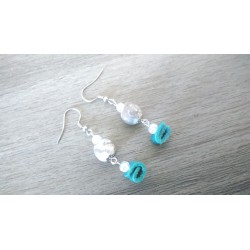 White ceramic earrings and turquoise stainless steel earthenware leather