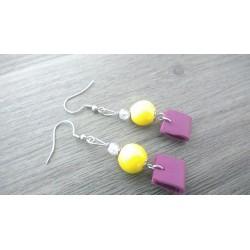 Boucles d'oreilles céramique jaune et cuir violet acier inoxydable faïence