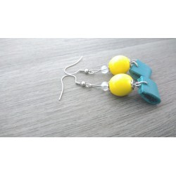 Yellow ceramic earrings and turquoise stainless steel earthenware leather