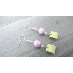 Purple ceramic earrings and stainless steel green leather earthenware