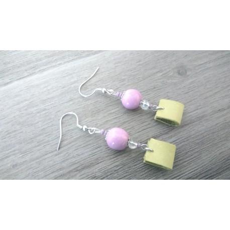 Boucles d'oreilles céramique violet et cuir vert acier inoxydable faïence