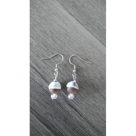 Boucles d'oreilles céramique blanche en terre noir