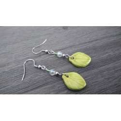 Green ceramic leaf-shaped earrings