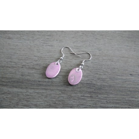 Boucles d'oreilles céramique violette