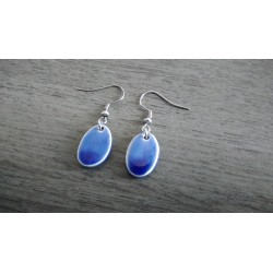 Oval dark blue ceramic earrings