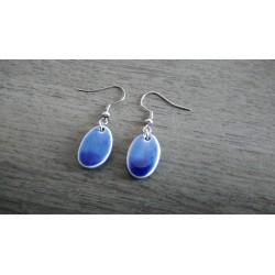 Oval dark blue ceramic earrings