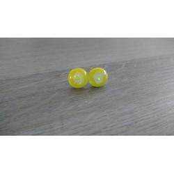 Boucles d'oreilles puce verre fusing dichroic jaune