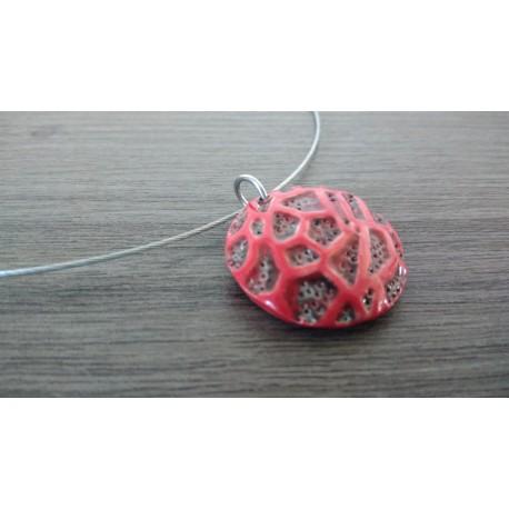 Pendentif rond céramique rouge et noir