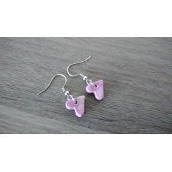 Boucles d'oreilles fantaisie céramique cœur violet rose