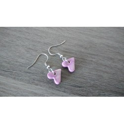 Fancy ceramic earrings pink purple heart