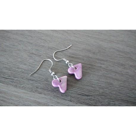 Boucles d'oreilles fantaisie céramique cœur violet