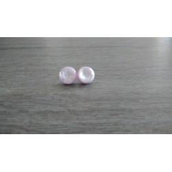 Boucles d'oreilles puce verre fusing dichroic rose.