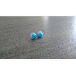 Boucles d'oreilles puce verre fusing bleu et turquoise