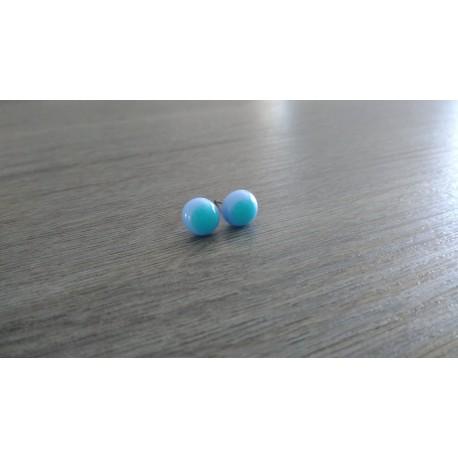 Boucles d'oreilles puce verre fusing bleu turquoise