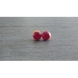 Boucles d'oreilles puce verre fusing orange et rouge.