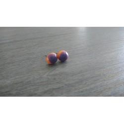 Boucles d'oreilles puce verre fusing orange et violet.