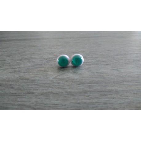 Boucles d'oreilles puce verre fusing rose et turquoise