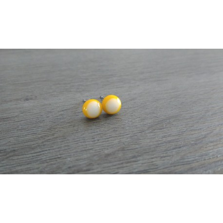 Boucles d'oreilles puce verre fusing blanc jaune