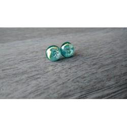 Boucles d'oreilles puce verre fusing turquoise Dichroic acier inoxydable