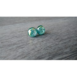 Boucles d'oreilles puce verre fusing turquoise Dichroic inox