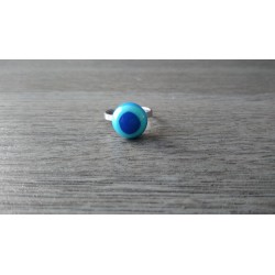 Ring glass fusing blue stainless steel creation