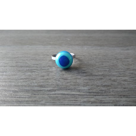Bague verre fusing bleu création française inox