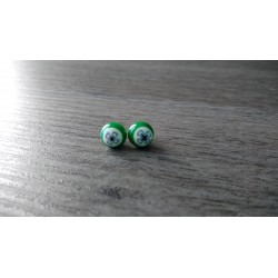 Boucles d'oreilles puce verre fusing millefiori verte