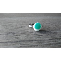 Julie and Co White Turquoise Fusing Glass Ring Creations